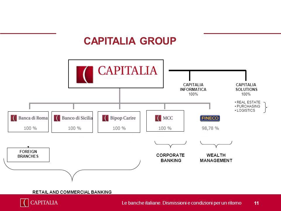 Le banche italiane. Dismissioni e condizioni per un ritorno 11 CAPITALIA GROUP FOREIGN BRANCHES RETAIL AND COMMERCIAL BANKING ECM/DCM TREASURY CAPITAL