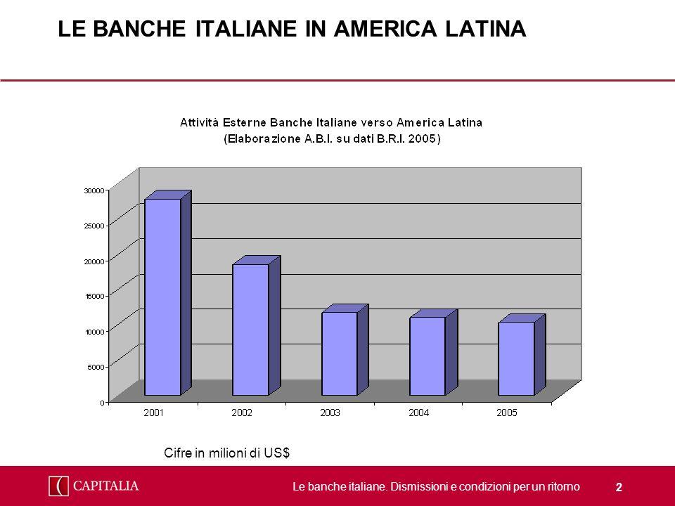 Le banche italiane. Dismissioni e condizioni per un ritorno 2 LE BANCHE ITALIANE IN AMERICA LATINA Cifre in milioni di US$