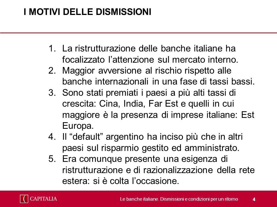Le banche italiane. Dismissioni e condizioni per un ritorno 4 I MOTIVI DELLE DISMISSIONI 1.La ristrutturazione delle banche italiane ha focalizzato la