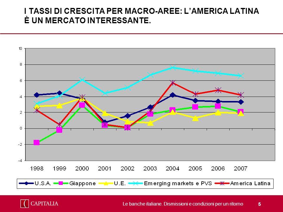 Le banche italiane. Dismissioni e condizioni per un ritorno 5 I TASSI DI CRESCITA PER MACRO-AREE: LAMERICA LATINA È UN MERCATO INTERESSANTE.
