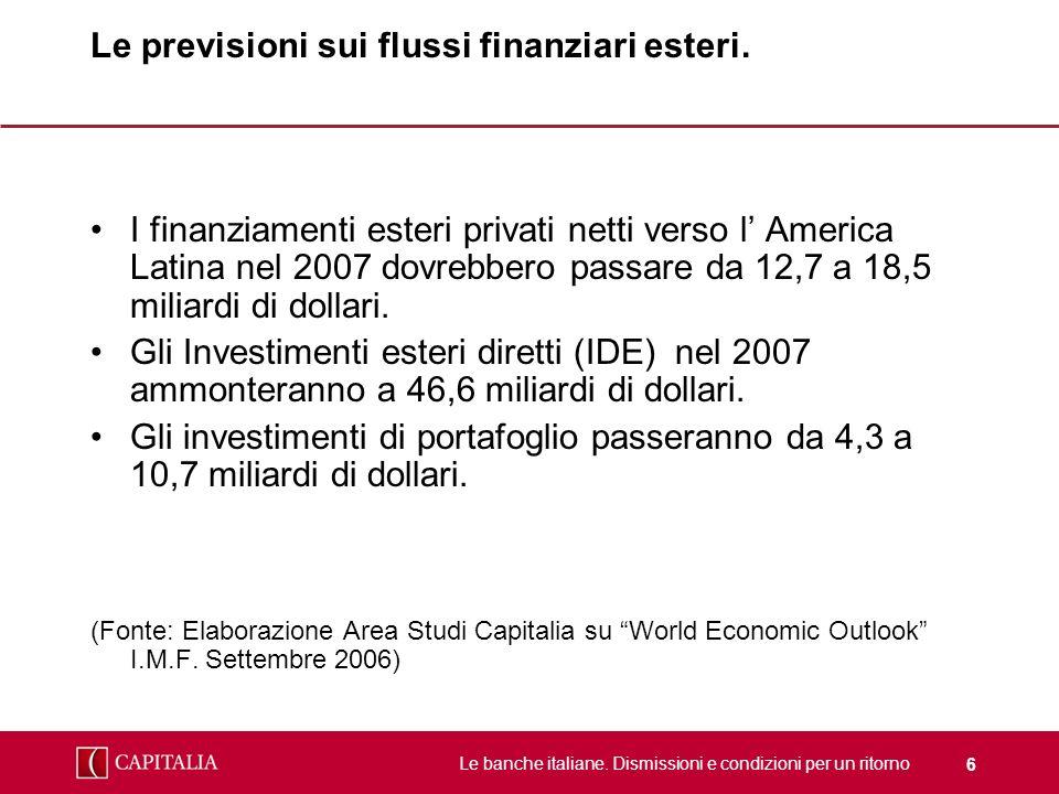 Le banche italiane. Dismissioni e condizioni per un ritorno 6 Le previsioni sui flussi finanziari esteri. I finanziamenti esteri privati netti verso l