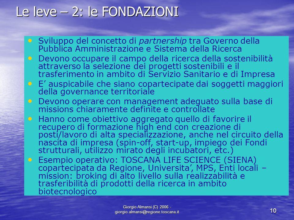 Giorgio Almansi (C) 2006 - giorgio.almansi@regione.toscana.it 10 Le leve – 2: le FONDAZIONI Sviluppo del concetto di partnership tra Governo della Pub