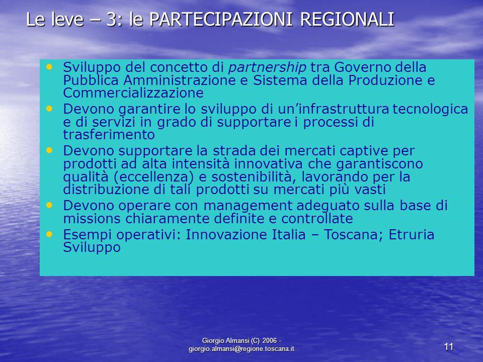 Giorgio Almansi (C) 2006 - giorgio.almansi@regione.toscana.it 11 Le leve – 3: le PARTECIPAZIONI REGIONALI Sviluppo del concetto di partnership tra Gov