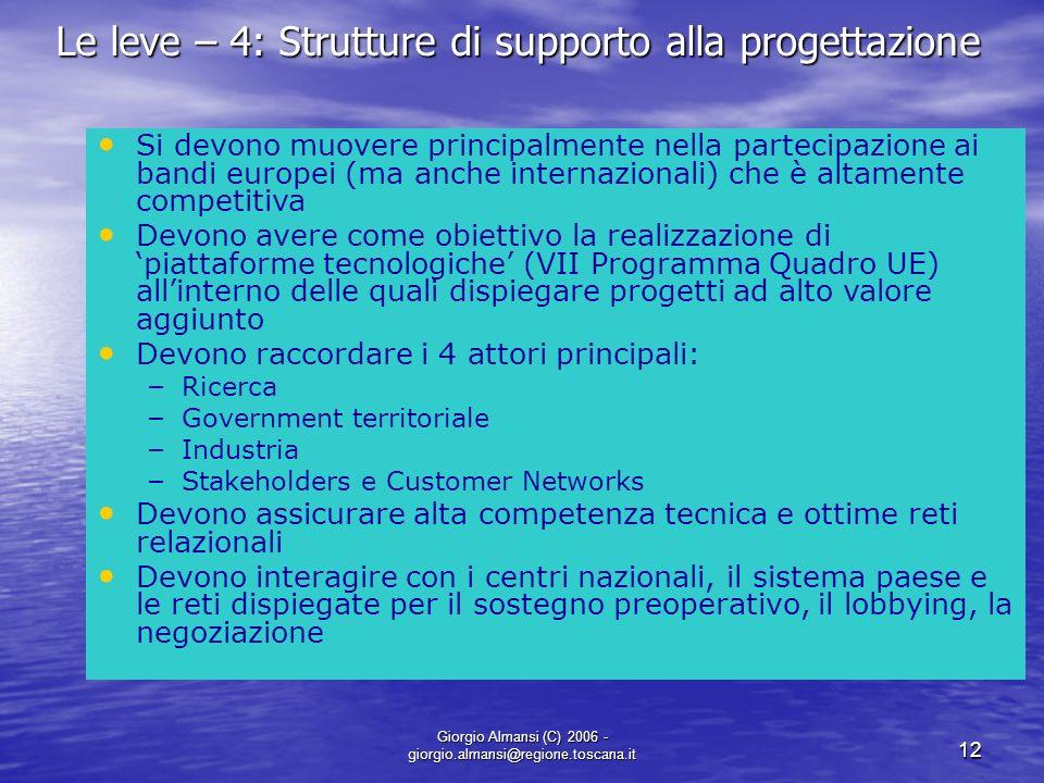 Giorgio Almansi (C) 2006 - giorgio.almansi@regione.toscana.it 12 Le leve – 4: Strutture di supporto alla progettazione Si devono muovere principalment