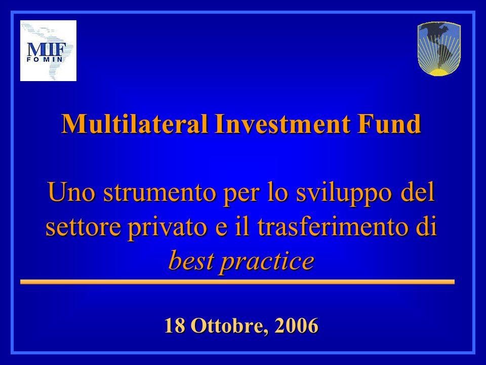 Multilateral Investment Fund Uno strumento per lo sviluppo del settore privato e il trasferimento di best practice 18 Ottobre, 2006