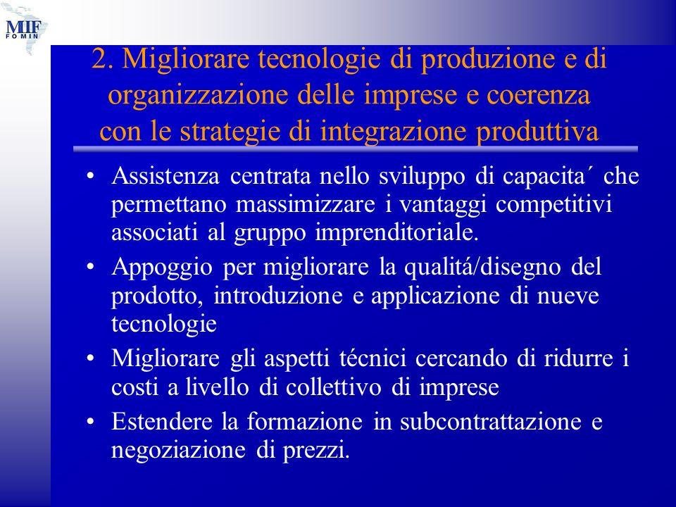 2. Migliorare tecnologie di produzione e di organizzazione delle imprese e coerenza con le strategie di integrazione produttiva Assistenza centrata ne