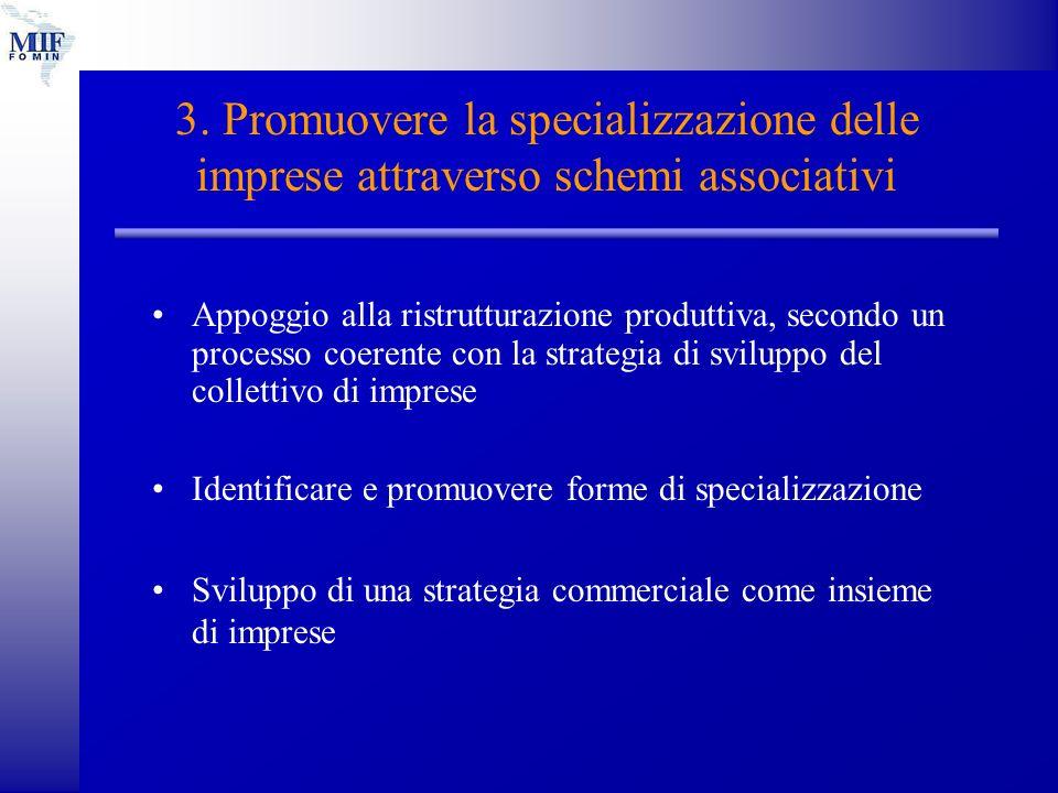 3. Promuovere la specializzazione delle imprese attraverso schemi associativi Appoggio alla ristrutturazione produttiva, secondo un processo coerente