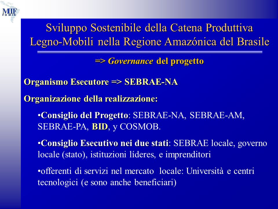 Sviluppo Sostenibile della Catena Produttiva Legno-Mobili nella Regione Amazónica del Brasile => Governance del progetto Organismo Esecutore =>SEBRAE-NA Organismo Esecutore => SEBRAE-NA Organizazione della realizzazione: Consiglio del Progetto BIDConsiglio del Progetto: SEBRAE-NA, SEBRAE-AM, SEBRAE-PA, BID, y COSMOB.