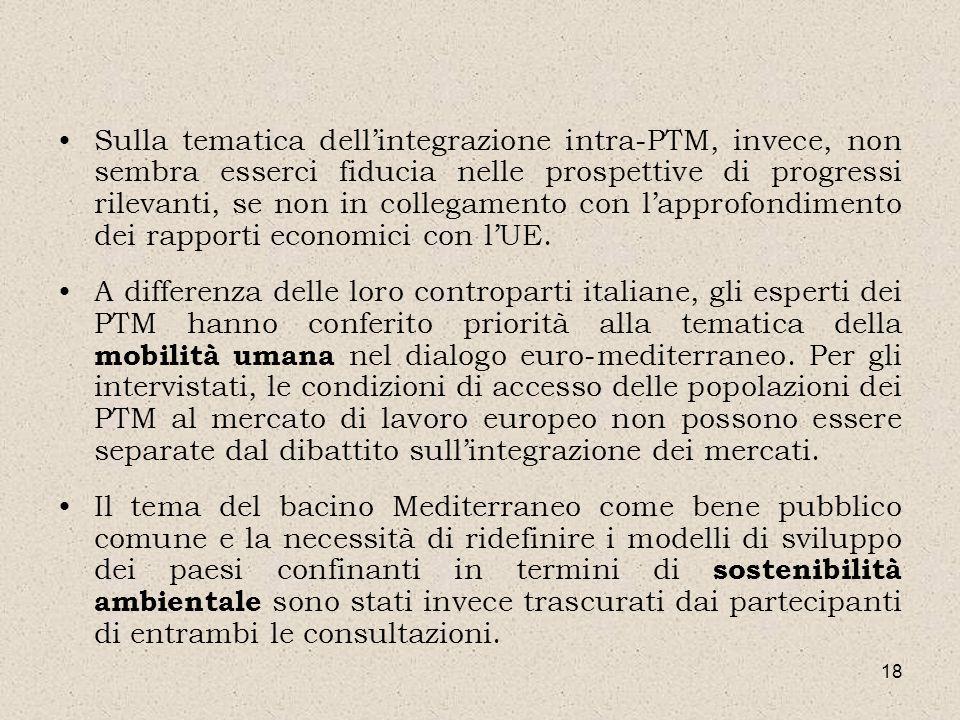 18 Sulla tematica dellintegrazione intra-PTM, invece, non sembra esserci fiducia nelle prospettive di progressi rilevanti, se non in collegamento con