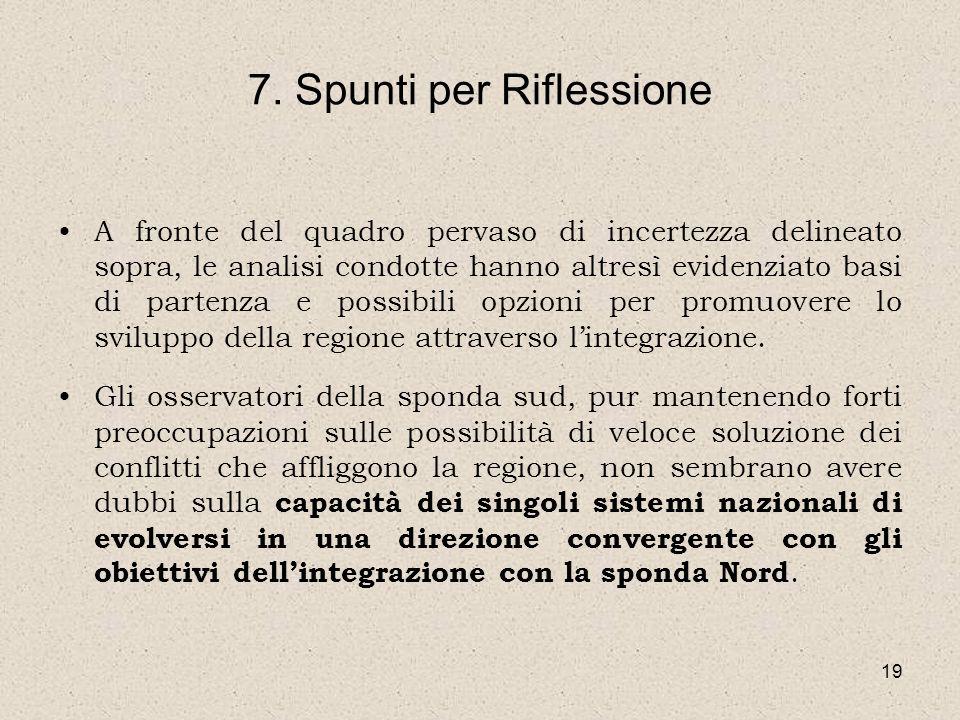 19 7. Spunti per Riflessione A fronte del quadro pervaso di incertezza delineato sopra, le analisi condotte hanno altresì evidenziato basi di partenza