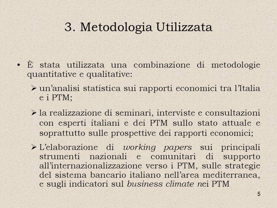 5 3. Metodologia Utilizzata È stata utilizzata una combinazione di metodologie quantitative e qualitative: unanalisi statistica sui rapporti economici