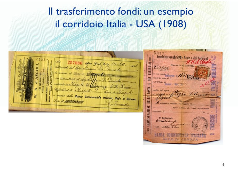 9 Migrante (NY - USA) Beneficiario (Napoli – Italia) Attori circuito: Agente (NY); Circuito Trasferente (Banca Italiana – Genova); Circuito regolamento (Poste Italiane – Napoli) Velocità (24 gg) Costi: all inclusive al migrante Il corridoio Italia - USA (1908)
