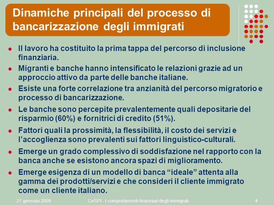 27 gennaio 2009CeSPI - I comportamenti finanziari degli immigrati4 Il lavoro ha costituito la prima tappa del percorso di inclusione finanziaria.