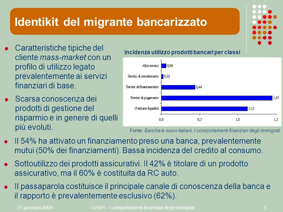 27 gennaio 2009CeSPI - I comportamenti finanziari degli immigrati5 Identikit del migrante bancarizzato Incidenza utilizzo prodotti bancari per classi Caratteristiche tipiche del cliente mass-market con un profilo di utilizzo legato prevalentemente ai servizi finanziari di base.