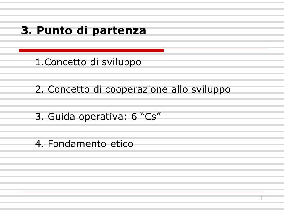 4 3. Punto di partenza 1.Concetto di sviluppo 2. Concetto di cooperazione allo sviluppo 3.