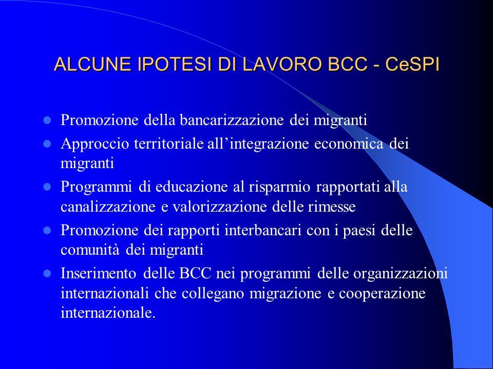 ALCUNE IPOTESI DI LAVORO BCC - CeSPI Promozione della bancarizzazione dei migranti Approccio territoriale allintegrazione economica dei migranti Progr