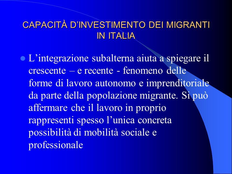 CAPACITÀ DINVESTIMENTO DEI MIGRANTI IN ITALIA Lintegrazione subalterna aiuta a spiegare il crescente – e recente - fenomeno delle forme di lavoro autonomo e imprenditoriale da parte della popolazione migrante.
