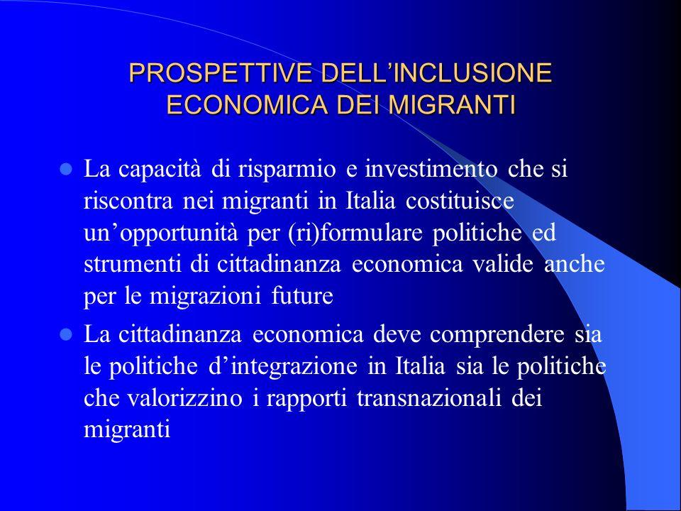 PROSPETTIVE DELLINCLUSIONE ECONOMICA DEI MIGRANTI La capacità di risparmio e investimento che si riscontra nei migranti in Italia costituisce unopport