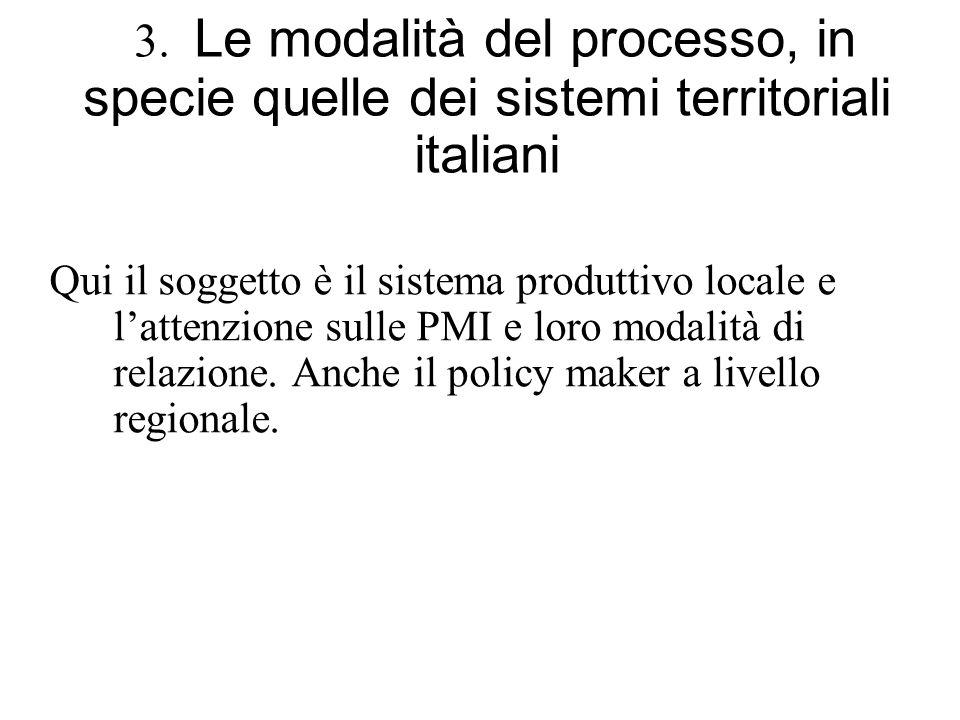 3. Le modalità del processo, in specie quelle dei sistemi territoriali italiani Qui il soggetto è il sistema produttivo locale e lattenzione sulle PMI