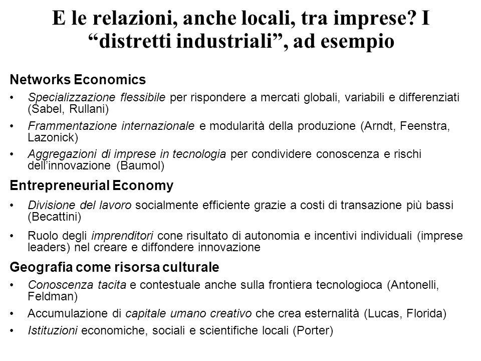 E le relazioni, anche locali, tra imprese? I distretti industriali, ad esempio Networks Economics Specializzazione flessibile per rispondere a mercati
