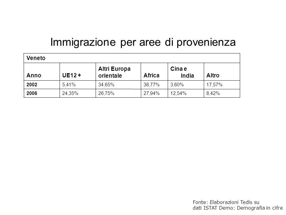 Veneto AnnoUE12 + Altri Europa orientaleAfrica Cina e IndiaAltro 20025,41%34,65%38,77%3,60%17,57% 200624,35%26,75%27,94%12,54%8,42% Fonte: Elaborazion