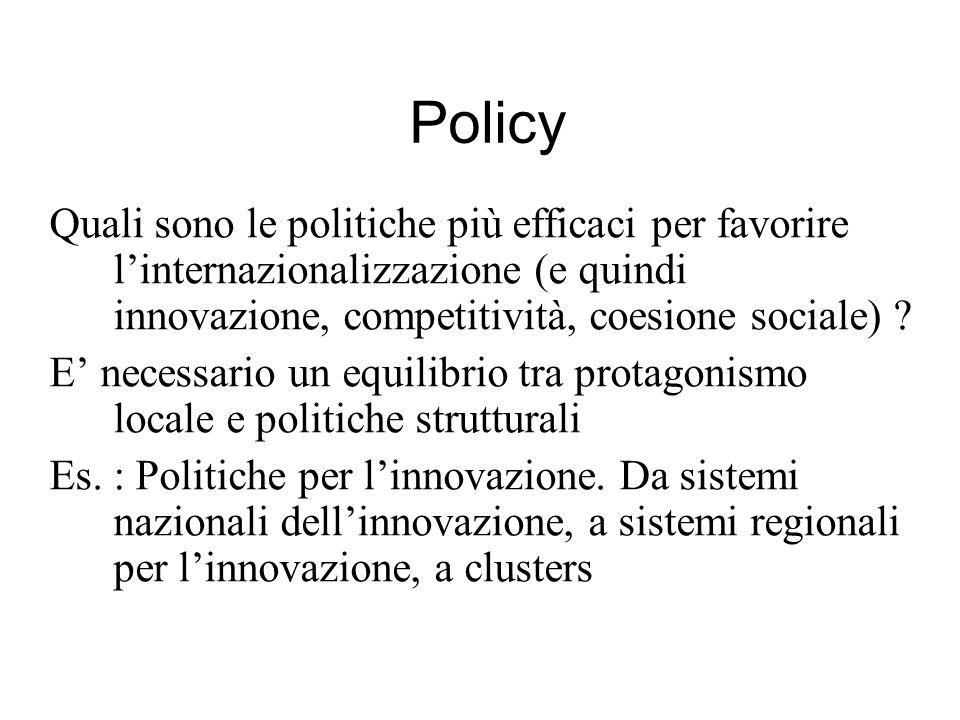Policy Quali sono le politiche più efficaci per favorire linternazionalizzazione (e quindi innovazione, competitività, coesione sociale) ? E necessari