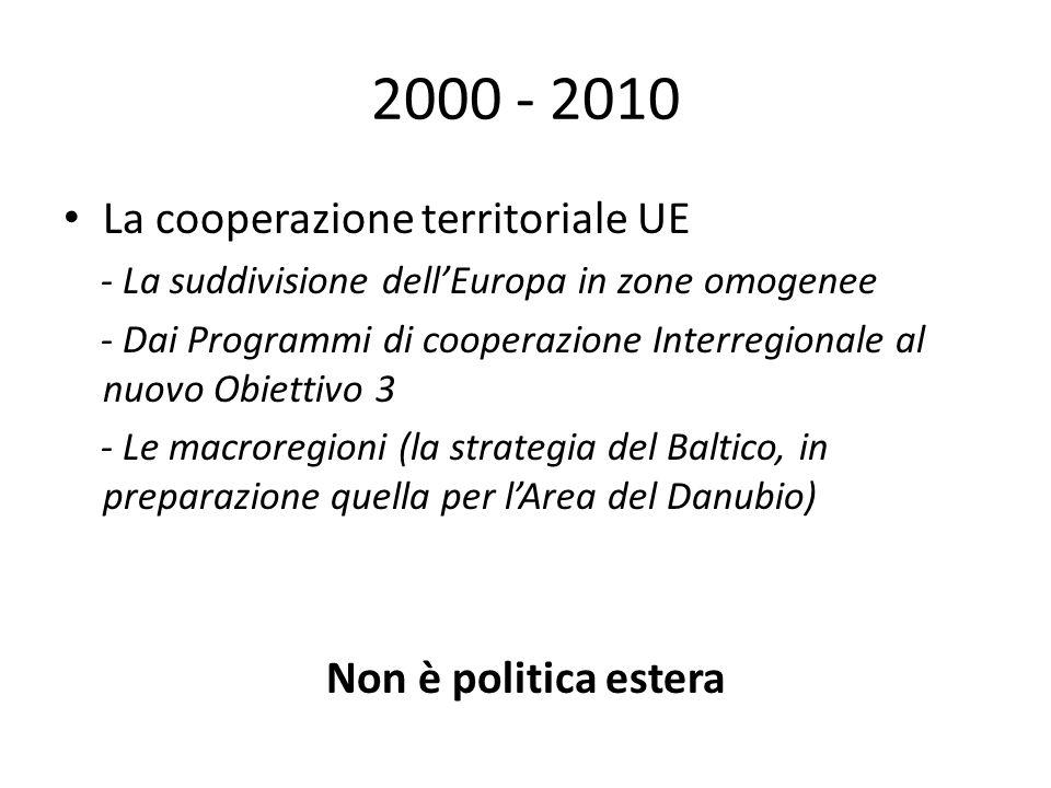 2000 - 2010 La cooperazione territoriale UE - La suddivisione dellEuropa in zone omogenee - Dai Programmi di cooperazione Interregionale al nuovo Obiettivo 3 - Le macroregioni (la strategia del Baltico, in preparazione quella per lArea del Danubio) Non è politica estera