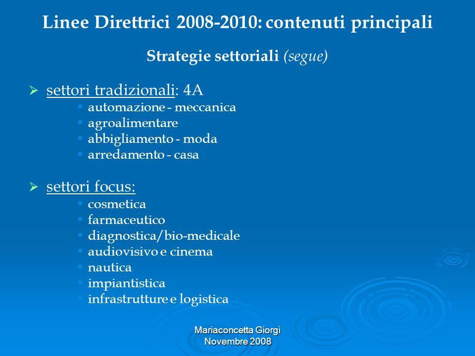 Mariaconcetta Giorgi Novembre 2008 Linee Direttrici 2008-2010: contenuti principali Strategie settoriali (segue) settori tradizionali: 4A automazione