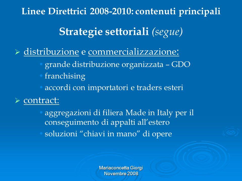 Mariaconcetta Giorgi Novembre 2008 Linee Direttrici 2008-2010: contenuti principali Strategie settoriali (segue) distribuzione e commercializzazione :