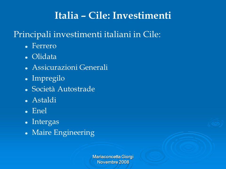 Mariaconcetta Giorgi Novembre 2008 Italia – Cile: Investimenti Principali investimenti italiani in Cile: Ferrero Olidata Assicurazioni Generali Impreg