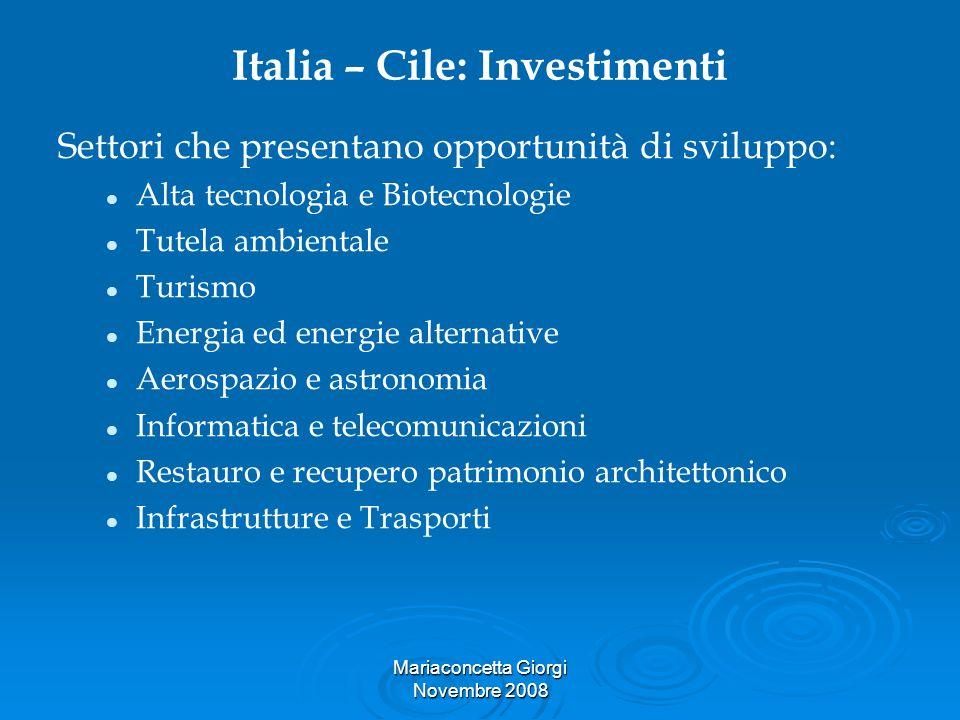 Mariaconcetta Giorgi Novembre 2008 Italia – Cile: Investimenti Settori che presentano opportunità di sviluppo: Alta tecnologia e Biotecnologie Tutela