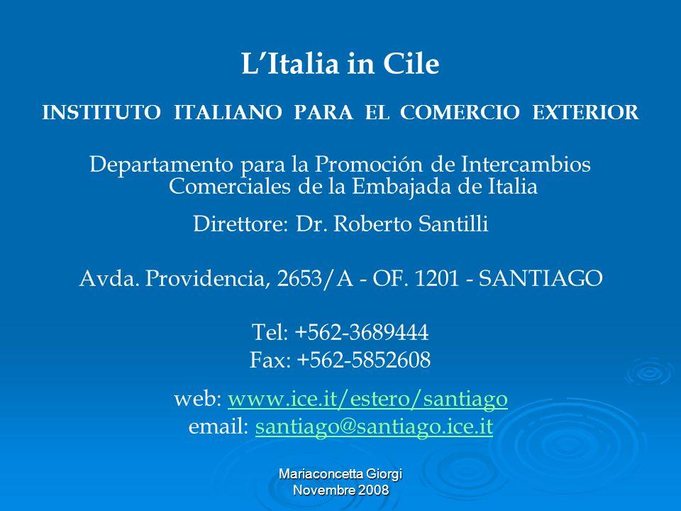 Mariaconcetta Giorgi Novembre 2008 LItalia in Cile INSTITUTO ITALIANO PARA EL COMERCIO EXTERIOR Departamento para la Promoción de Intercambios Comerci
