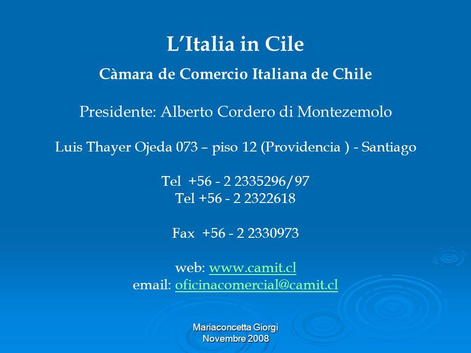 Mariaconcetta Giorgi Novembre 2008 LItalia in Cile Càmara de Comercio Italiana de Chile Presidente: Alberto Cordero di Montezemolo Luis Thayer Ojeda 0