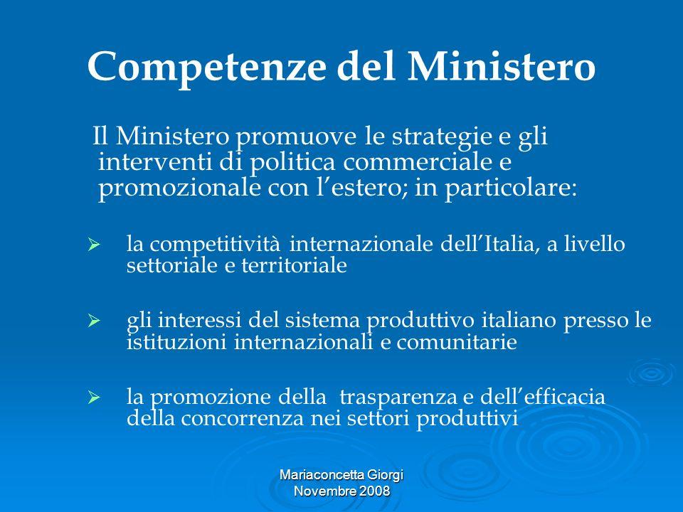 Mariaconcetta Giorgi Novembre 2008 Competenze del Ministero Il Ministero promuove le strategie e gli interventi di politica commerciale e promozionale