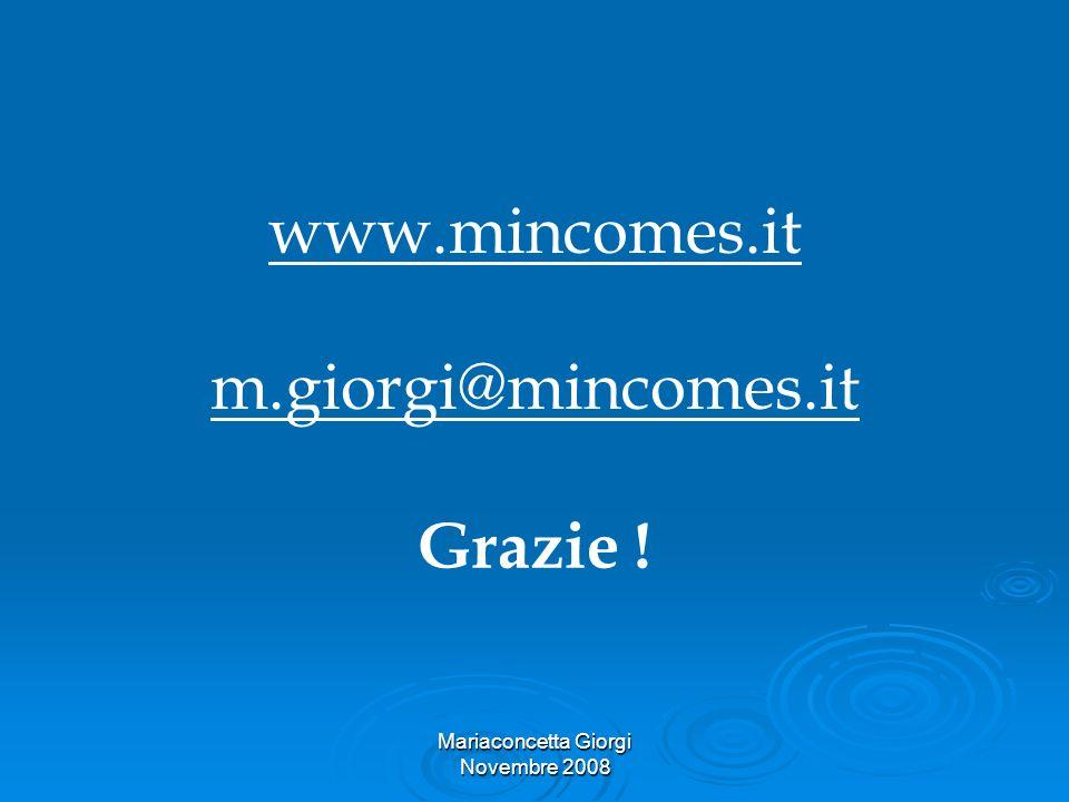 Mariaconcetta Giorgi Novembre 2008 www.mincomes.it m.giorgi@mincomes.it Grazie !