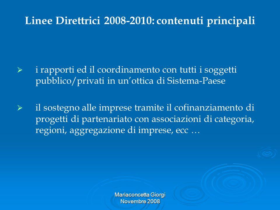 Mariaconcetta Giorgi Novembre 2008 Linee Direttrici 2008-2010: contenuti principali i rapporti ed il coordinamento con tutti i soggetti pubblico/priva