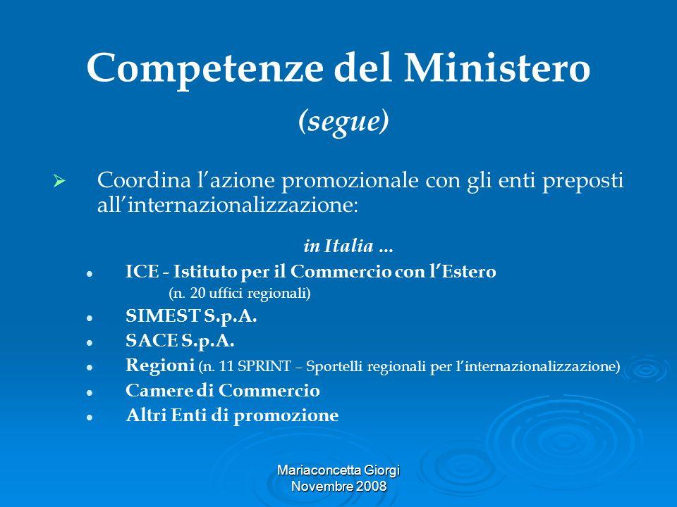 Mariaconcetta Giorgi Novembre 2008 Competenze del Ministero (segue) Coordina lazione promozionale con gli enti preposti allinternazionalizzazione: in