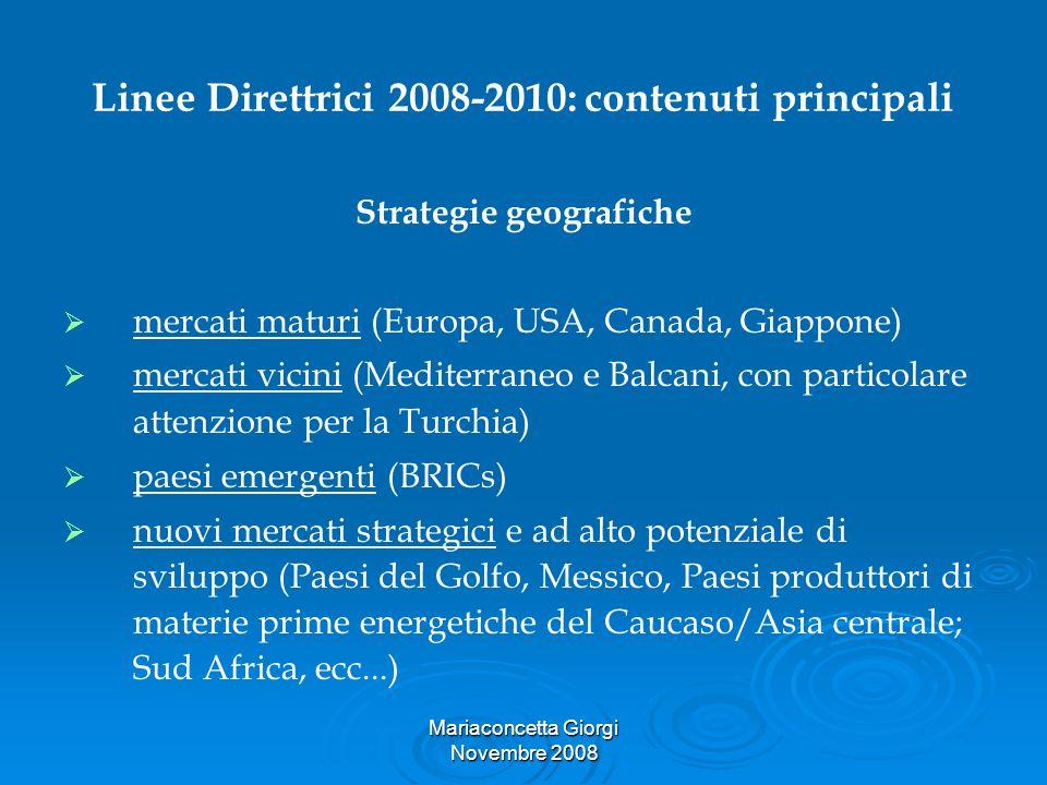 Mariaconcetta Giorgi Novembre 2008 Linee Direttrici 2008-2010: contenuti principali Strategie geografiche mercati maturi (Europa, USA, Canada, Giappon