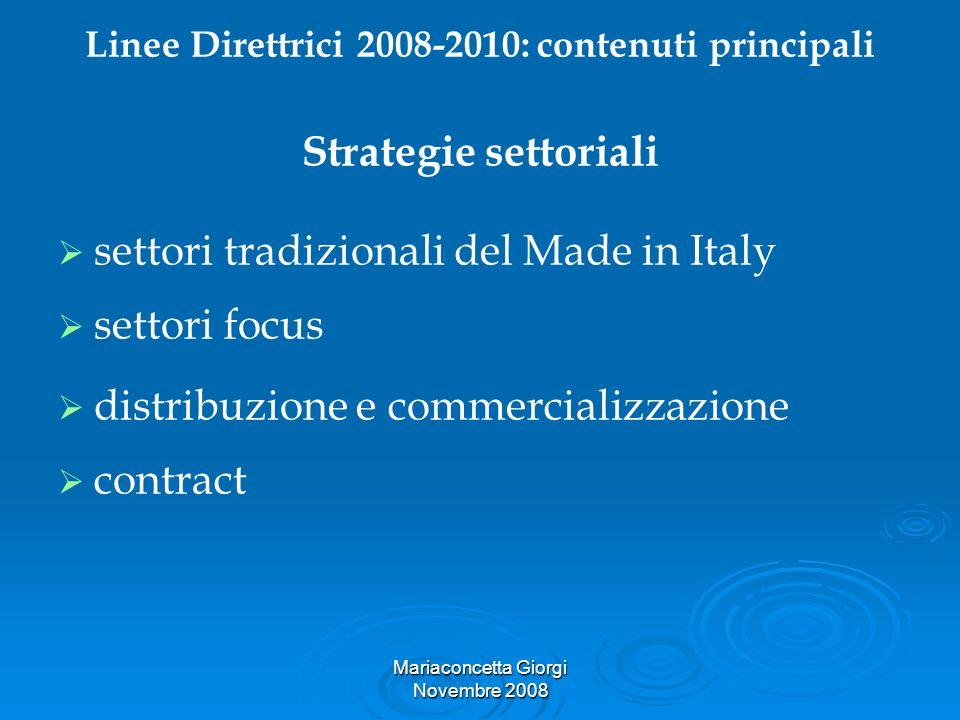 Mariaconcetta Giorgi Novembre 2008 Linee Direttrici 2008-2010: contenuti principali Strategie settoriali settori tradizionali del Made in Italy settor