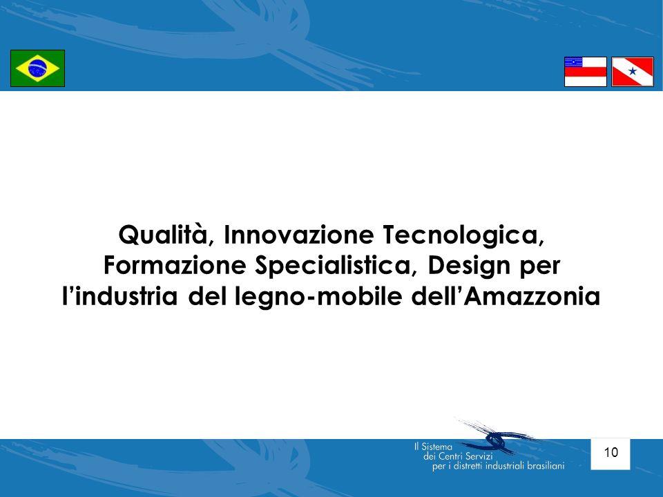 10 Qualità, Innovazione Tecnologica, Formazione Specialistica, Design per lindustria del legno-mobile dellAmazzonia