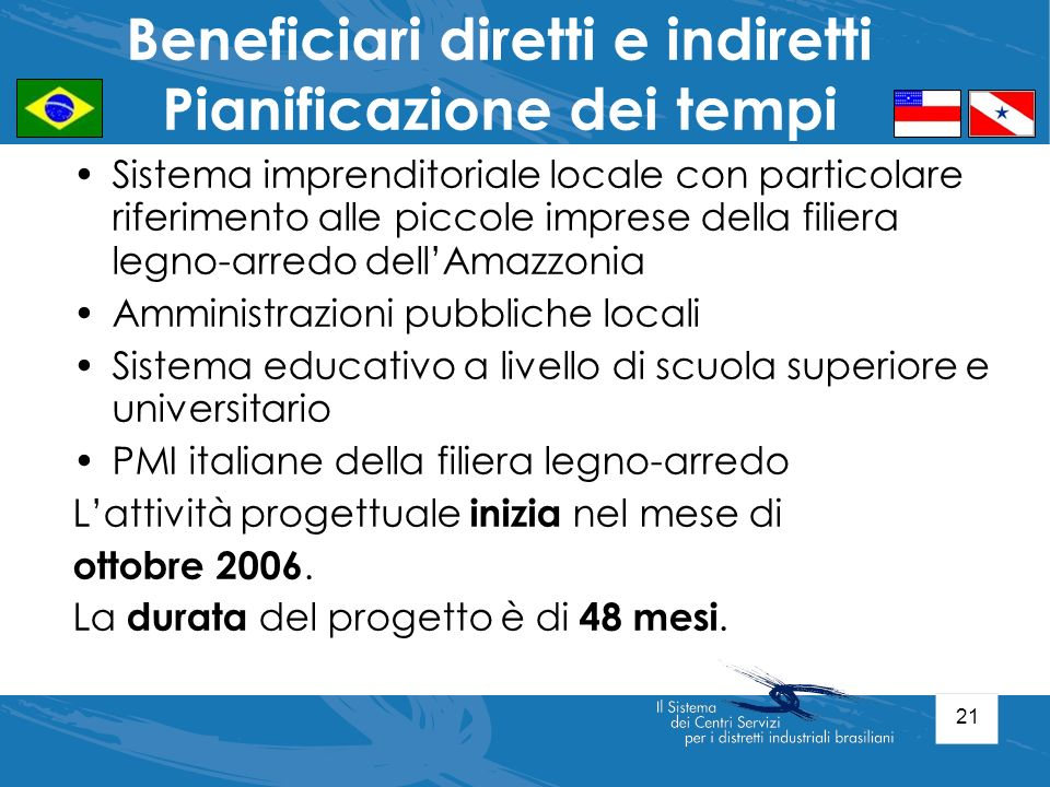 21 Sistema imprenditoriale locale con particolare riferimento alle piccole imprese della filiera legno-arredo dellAmazzonia Amministrazioni pubbliche