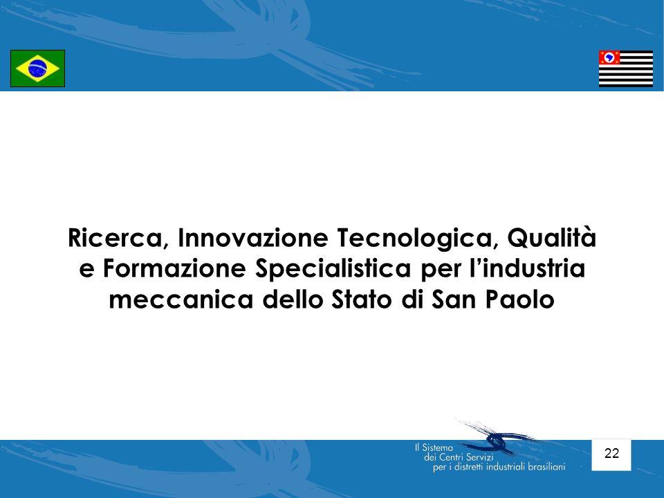 22 Ricerca, Innovazione Tecnologica, Qualità e Formazione Specialistica per lindustria meccanica dello Stato di San Paolo