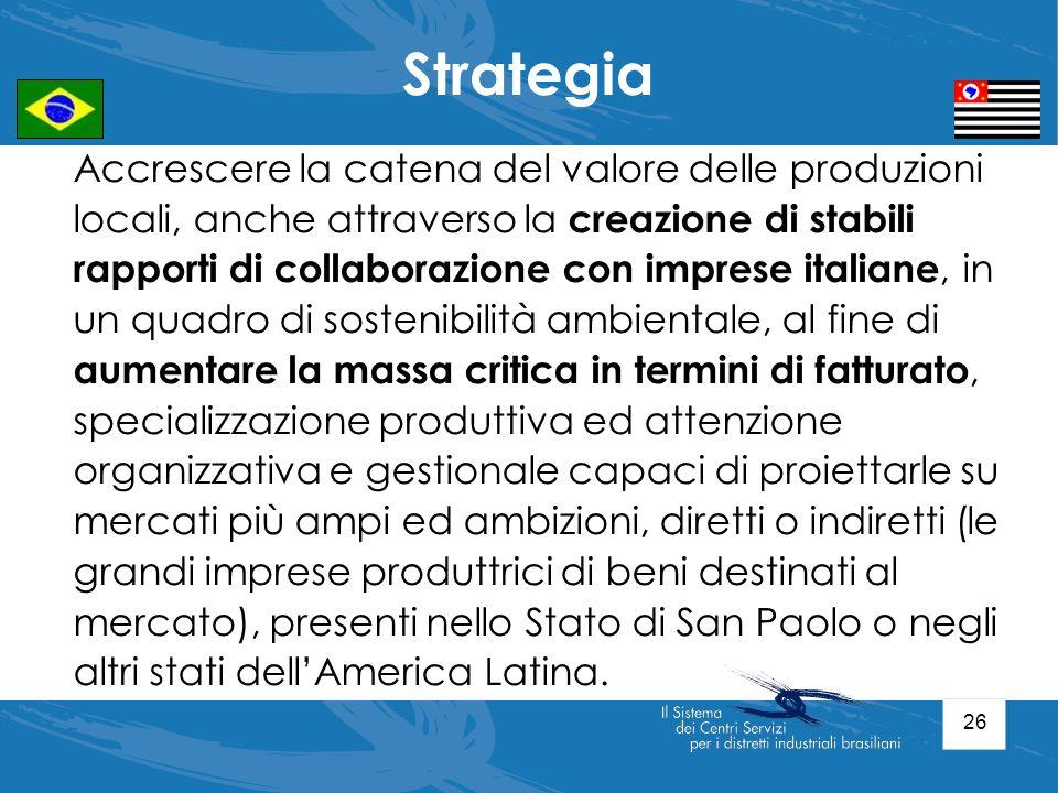 26 Accrescere la catena del valore delle produzioni locali, anche attraverso la creazione di stabili rapporti di collaborazione con imprese italiane,