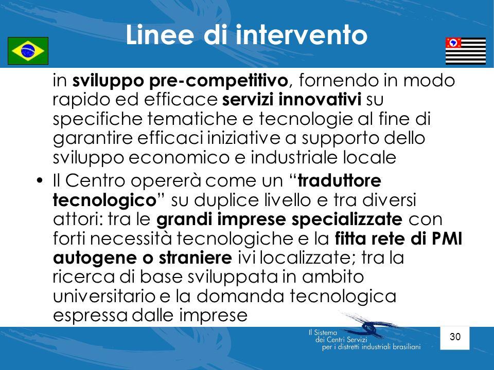 30 in sviluppo pre-competitivo, fornendo in modo rapido ed efficace servizi innovativi su specifiche tematiche e tecnologie al fine di garantire effic