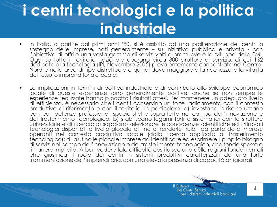 4 i centri tecnologici e la politica industriale In Italia, a partire dai primi anni 80, si è assistito ad una proliferazione dei centri a sostegno de