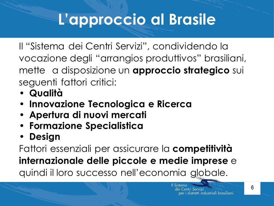 6 Lapproccio al Brasile Il Sistema dei Centri Servizi, condividendo la vocazione degli arrangios produttivos brasiliani, mette a disposizione un appro