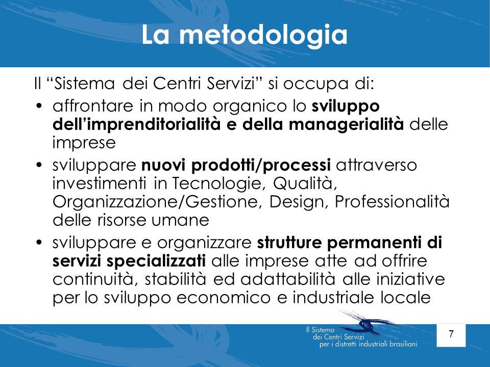 7 La metodologia Il Sistema dei Centri Servizi si occupa di: affrontare in modo organico lo sviluppo dellimprenditorialità e della managerialità delle