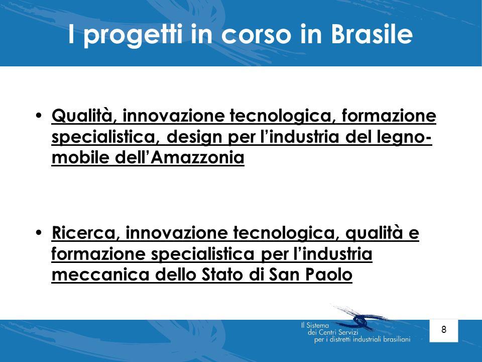 8 I progetti in corso in Brasile Qualità, innovazione tecnologica, formazione specialistica, design per lindustria del legno- mobile dellAmazzonia Ric
