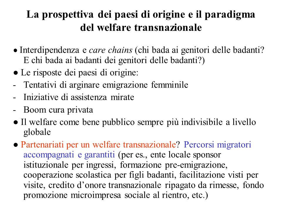 La prospettiva dei paesi di origine e il paradigma del welfare transnazionale Interdipendenza e care chains (chi bada ai genitori delle badanti? E chi