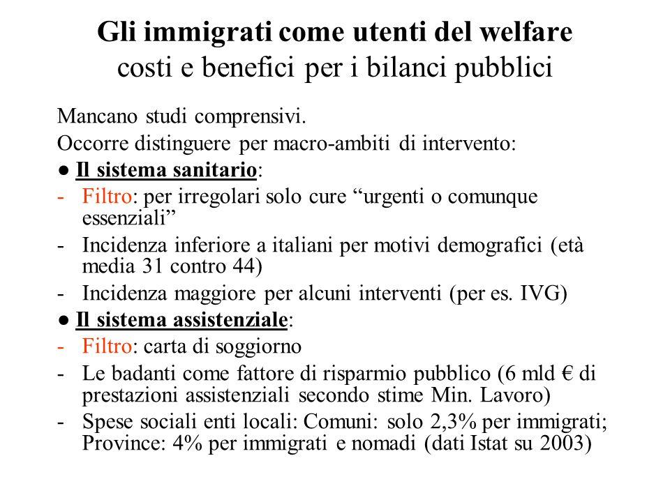 Gli immigrati come utenti del welfare costi e benefici per i bilanci pubblici Mancano studi comprensivi. Occorre distinguere per macro-ambiti di inter